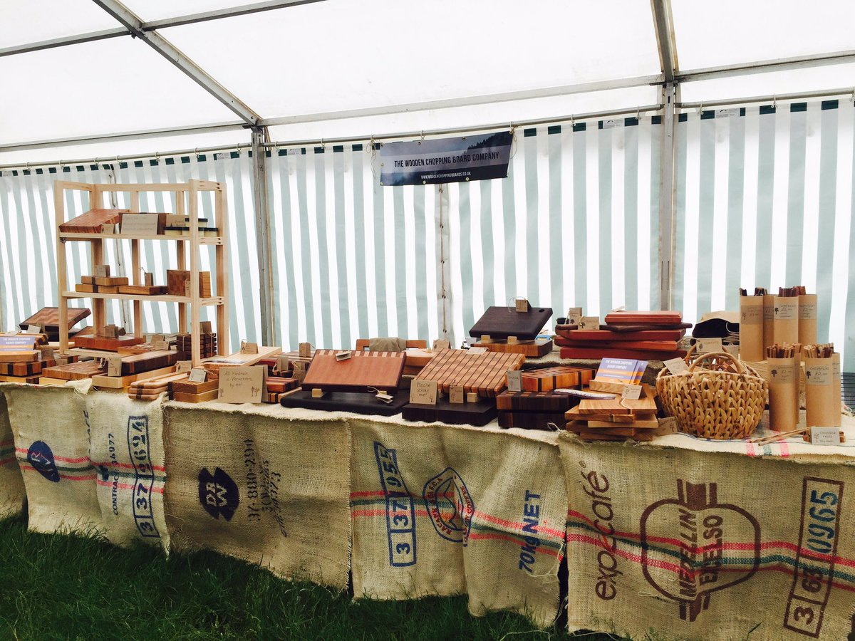 Set up ready @burghleyhouse #burghleygameandcountryfair @living_heritage #woodenchoppingboards #madeinengland #woodworking #craft<br>http://pic.twitter.com/iLtuhLraqc