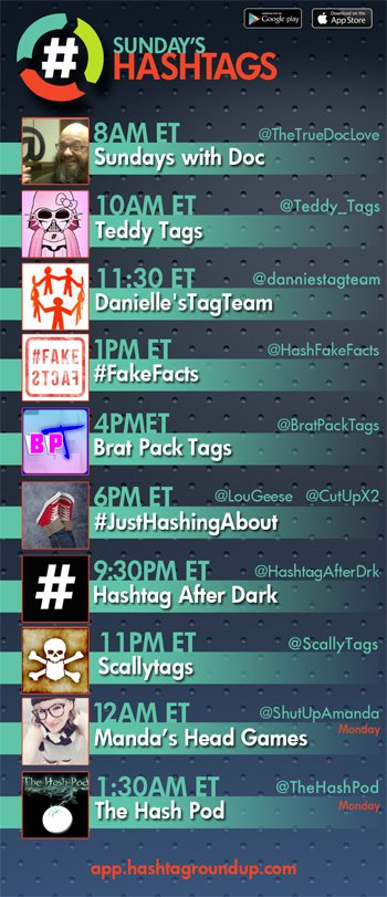 Hashtag Roundup - Sunday   Download our FREE #game app (iOS/Android):  http:// app.hashtagroundup.com  &nbsp;  <br>http://pic.twitter.com/f6KiV3oI1j
