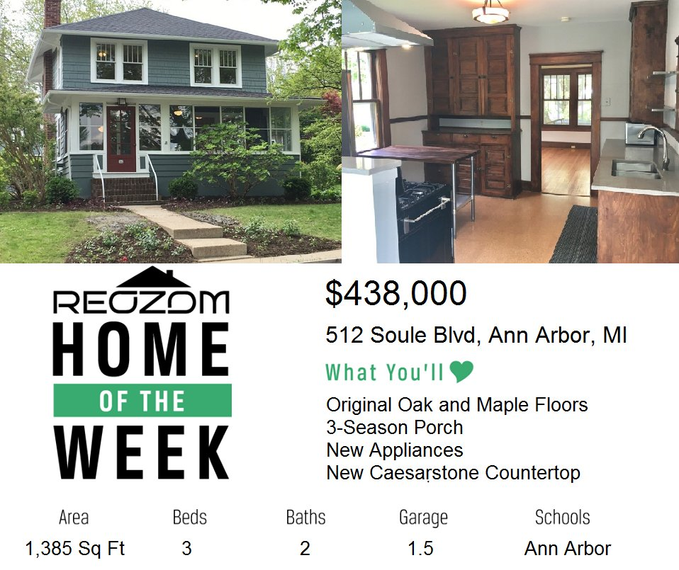 Check out this #ReozomHome of the week 512 Soule Blvd, Ann Arbor, MI 48103   http:// ow.ly/V7Tv30bSx3x  &nbsp;    #annarbor #mi #forsale #fsbo #home #mls<br>http://pic.twitter.com/g8h6bSeA7R