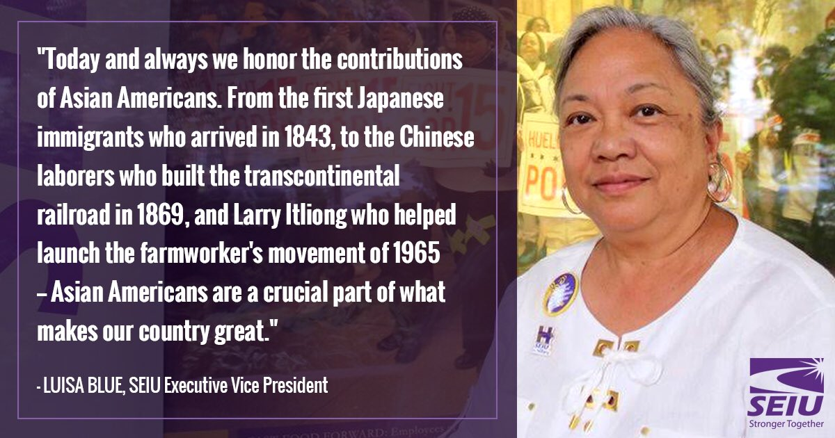 Luisa Blue, our 1st #AAPI Exec. Vice Pres, joins our sisters &amp; brothers in the fight for justice #APAHM #AAPIMonth<br>http://pic.twitter.com/t6eTJ9R0wA