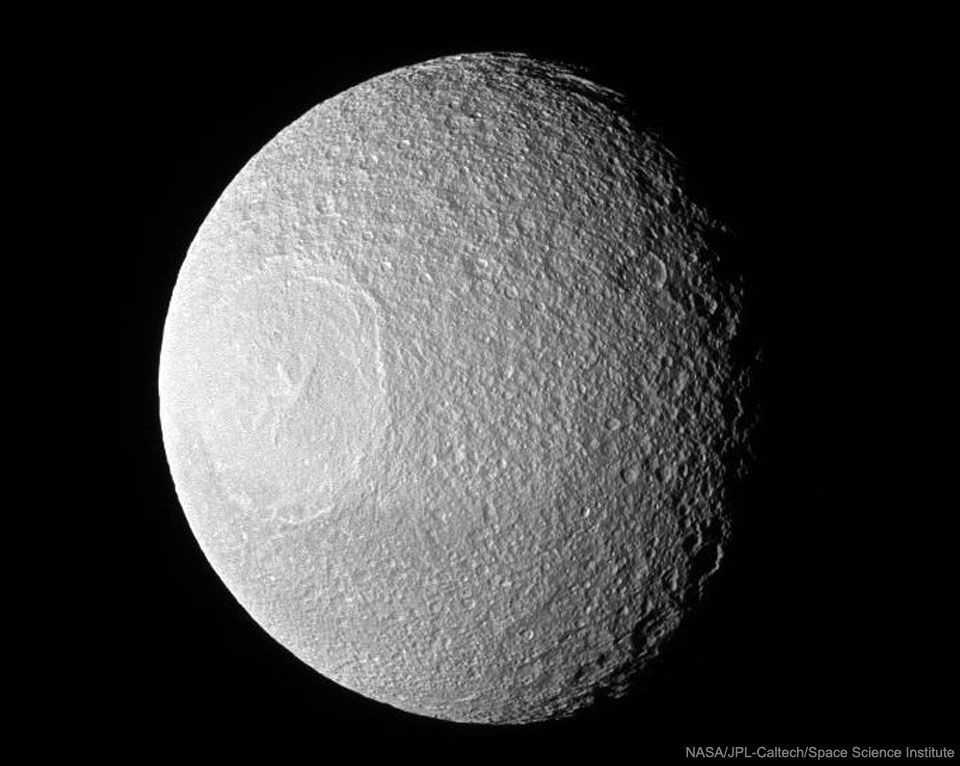#Space: Odysseus #Crater on #Saturn&#39;s moon #Tethys, remnant of an ancient  (&amp;catastophic) #collision  https:// apod.nasa.gov/apod/ap170205. html &nbsp; …  via @apod<br>http://pic.twitter.com/j611WwG25V