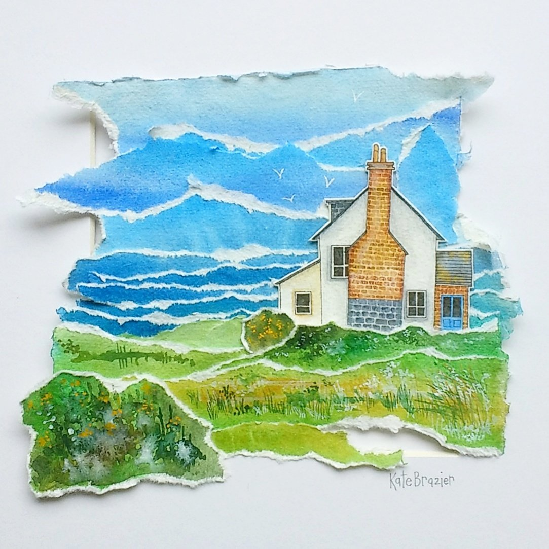 Here&#39;s my latest layered watercolour @HandmadeHour inspired by the cliffs to Polzeath in #Cornwall #HandmadeHour #freeshipping #etsyseller <br>http://pic.twitter.com/vd2aFWCvwN