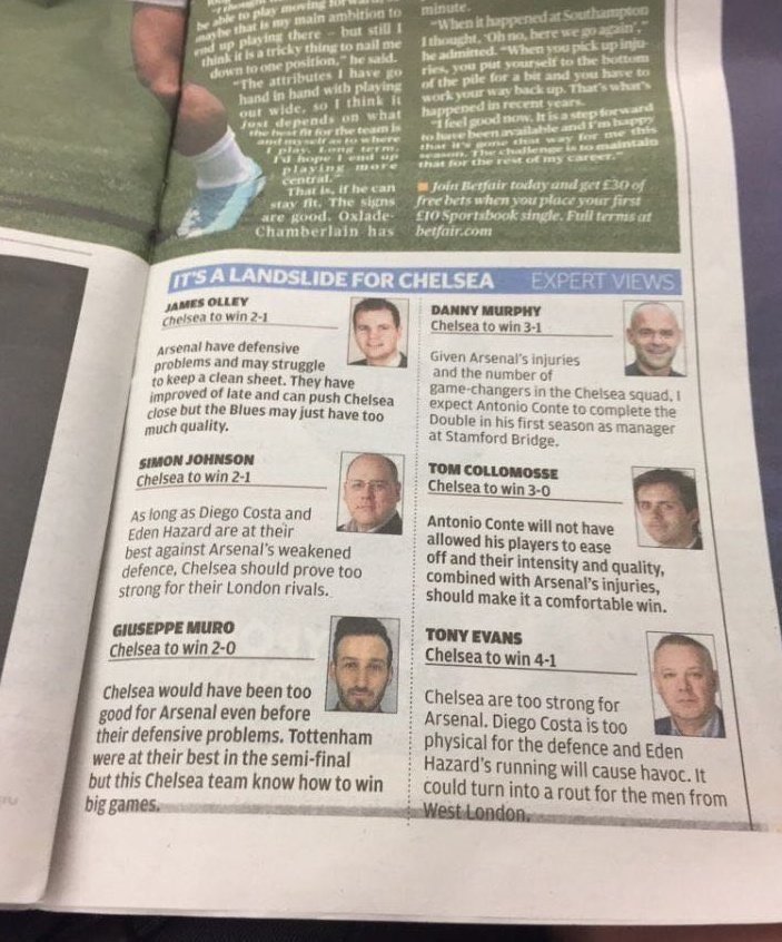 'Experts predictions' ... 😂😆 #FACup 🏆
