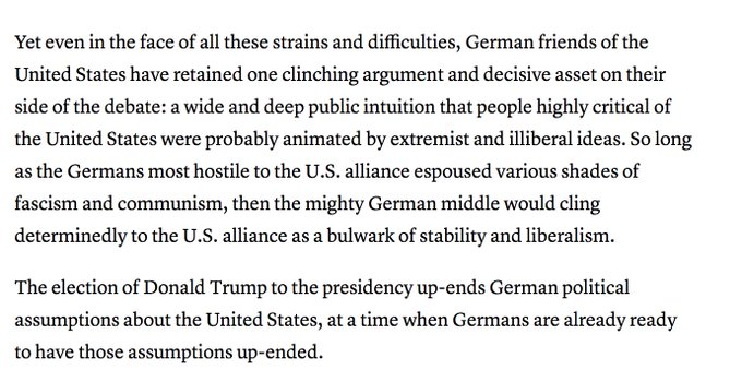 Me from Nov. 2016 on why Trump is so uniquely dangerous to the US-German relationship. https://t.co/sdK67whShS