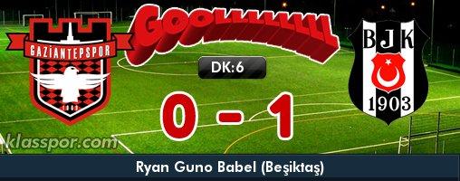 ️️: ️ ️:6 #Gaziantepspor  - #Beşiktaş  (Gol:Ryan Guno Babel)  http:// klas.futbol/16453  &nbsp;  <br>http://pic.twitter.com/V6jYi6JV1O