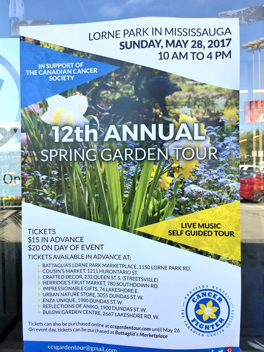 Check out @CCS_media #Mississauga #Spring #Garden Tour, until 4:00 pm. Big thanks to all #volunteers, #homeowners &amp; #supporters! #BeatCancer<br>http://pic.twitter.com/0TlW1RDBK1