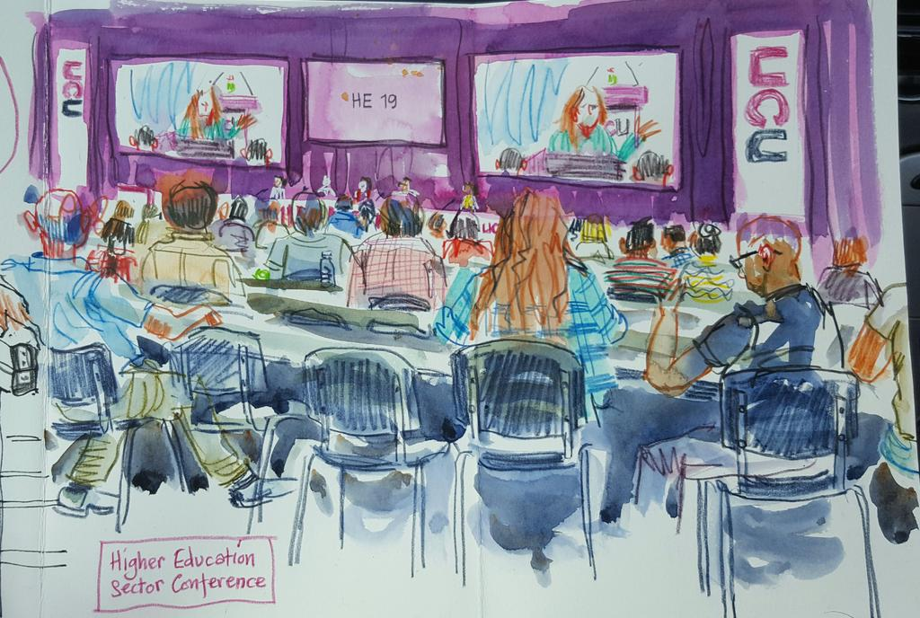 This afternoon&#39;s #HE session at #UCU17 congress. Trying to capture overall flavour. @urbansketchers @ucu<br>http://pic.twitter.com/AucwRGpQ2m