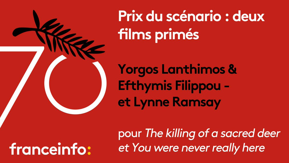 #Cannes70 : le prix du scénario est décerné à deux co-lauréats ! ⬇️ https://t.co/uZbnOWIXyj