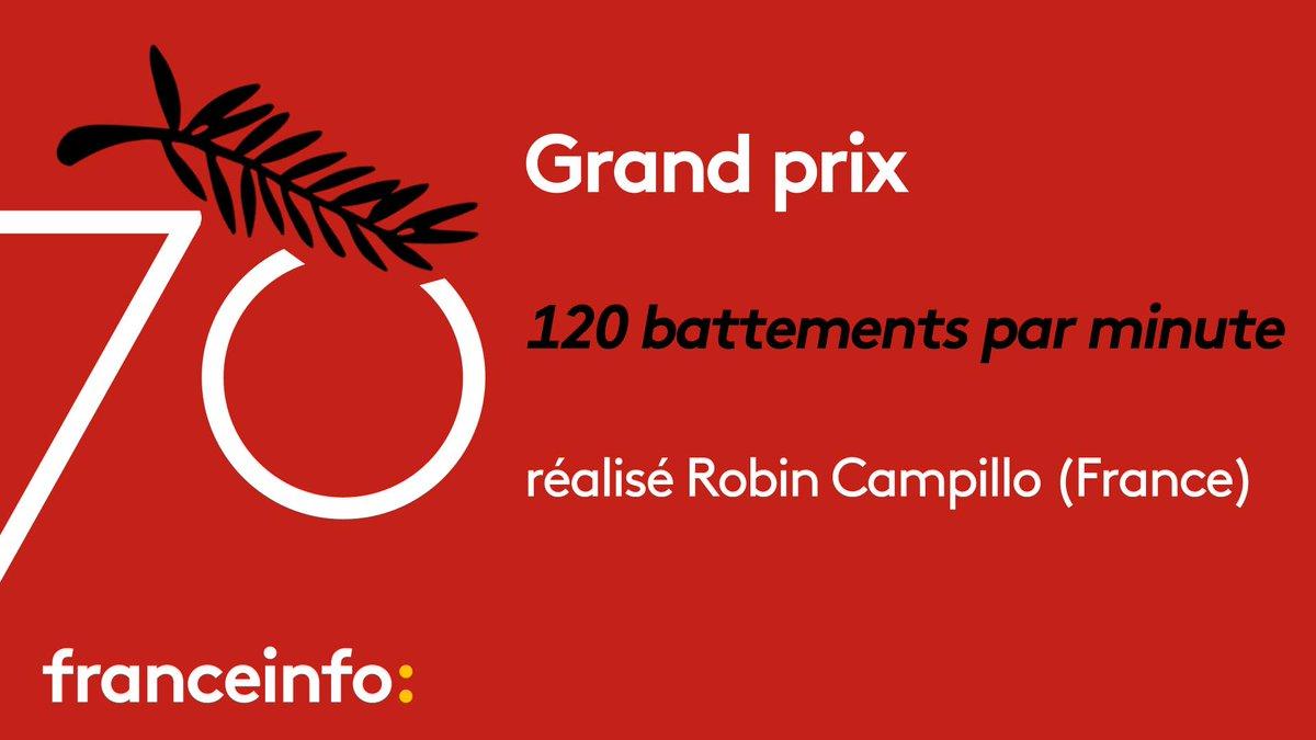 #Cannes70 : le Grand prix décérné à 120 battements par minutes, du Français Robin Campillo. https://t.co/uZbnOWIXyj