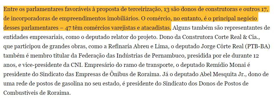 Da @agenciapublica: Dos 232 parlamentares que aprovaram o Projeto de Lei da Terceirização, 193 são patrões https://t.co/zJZOCpaTQm