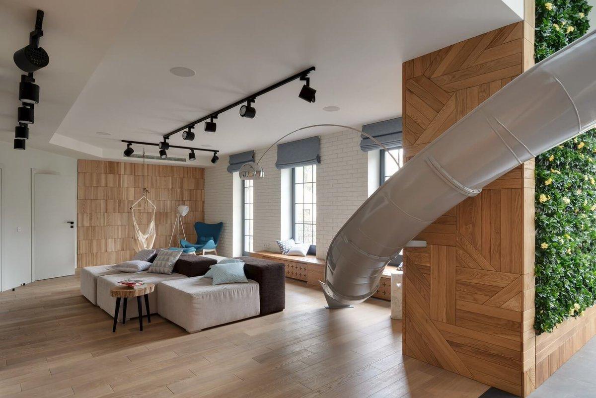 Apartment with a Slide by Ki Design |  http://www. homeadore.com/2016/02/25/apa rtment-slide-ki-design/ &nbsp; …  Please RT #architecture #interiordesign <br>http://pic.twitter.com/unBQQ3QAOZ