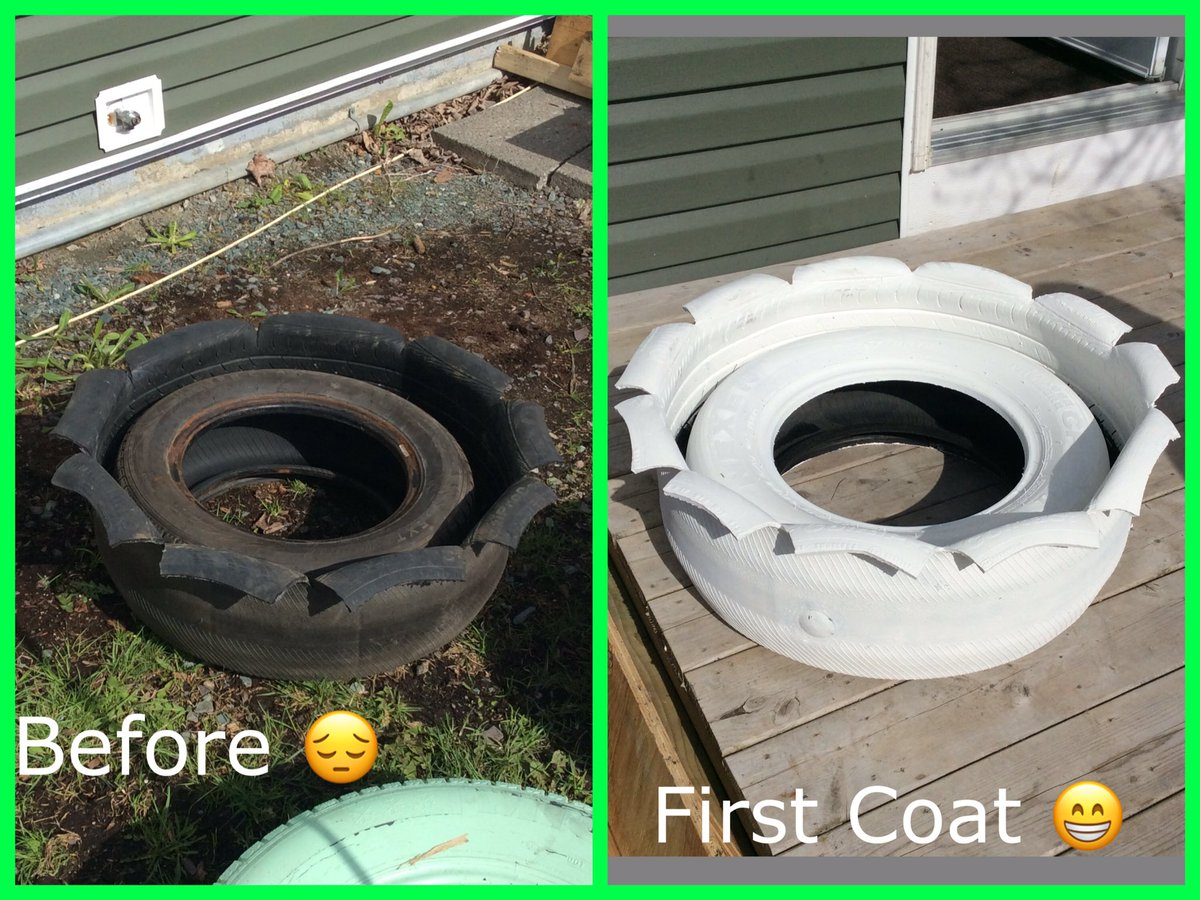 How I spent my sunny day #recycledtires #planters #sundayfunday #yyt #gardening #ideasareendless<br>http://pic.twitter.com/a8Edp3nUaF