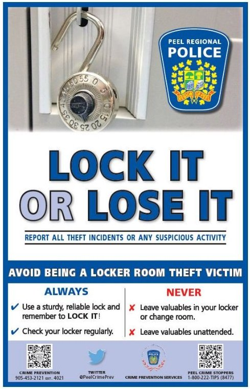 Theft can occur anywhere, when at school, gym or work - keep your valu...