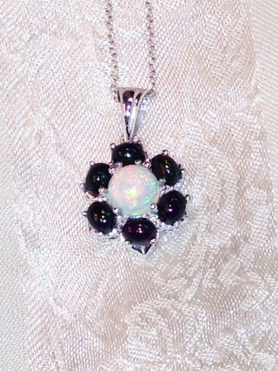 Opal Flower #Necklace White &amp; Black #Opals  #Handmade #Jewelry  http:// buff.ly/2s82qix  &nbsp;   @Etsy  #pht1 #birthstones #a…<br>http://pic.twitter.com/wpnInCHUEW