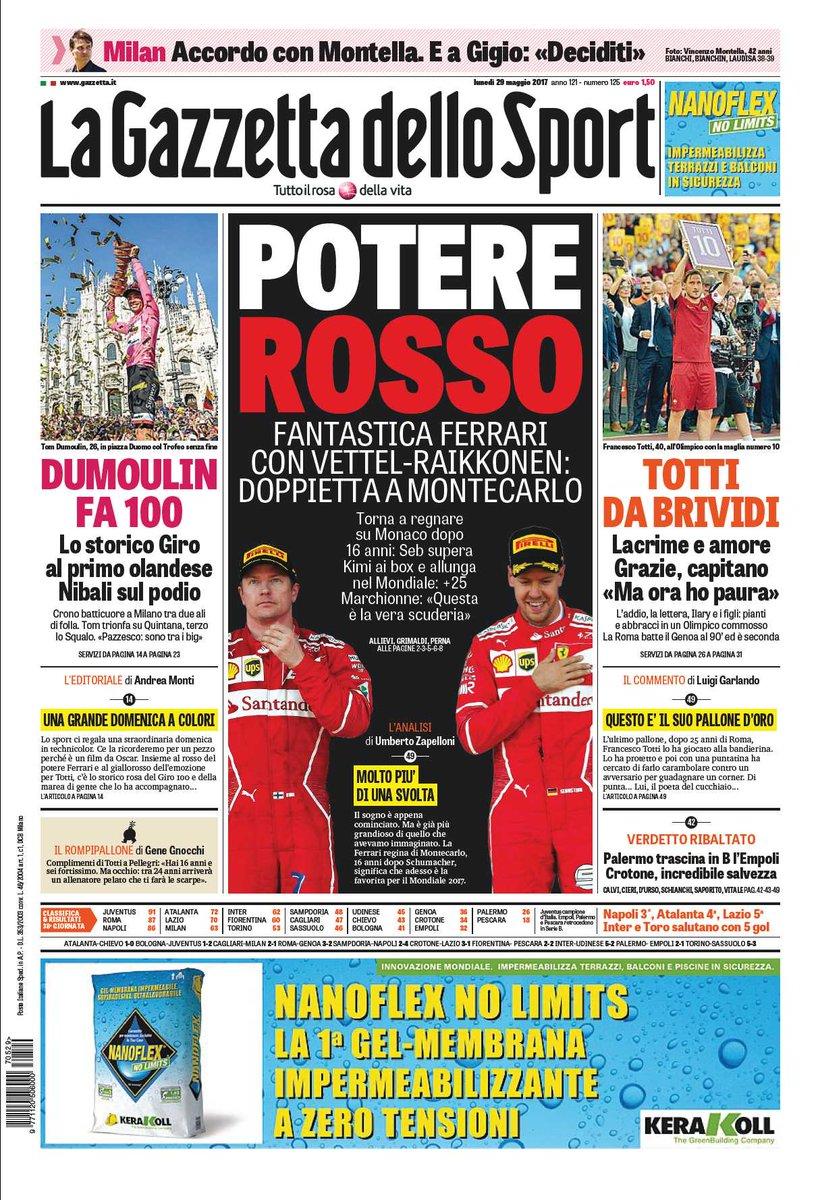 Gazzetta dello Sport Prima pagina 29 maggio 2017