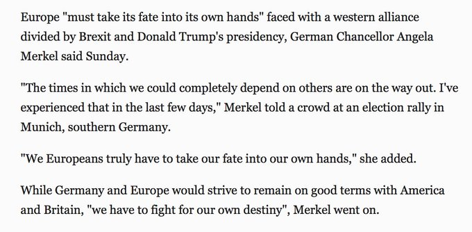 An independent Europe? Merkel says Europe must 'take its fate into its own hands' https://t.co/63eGtqJOhu