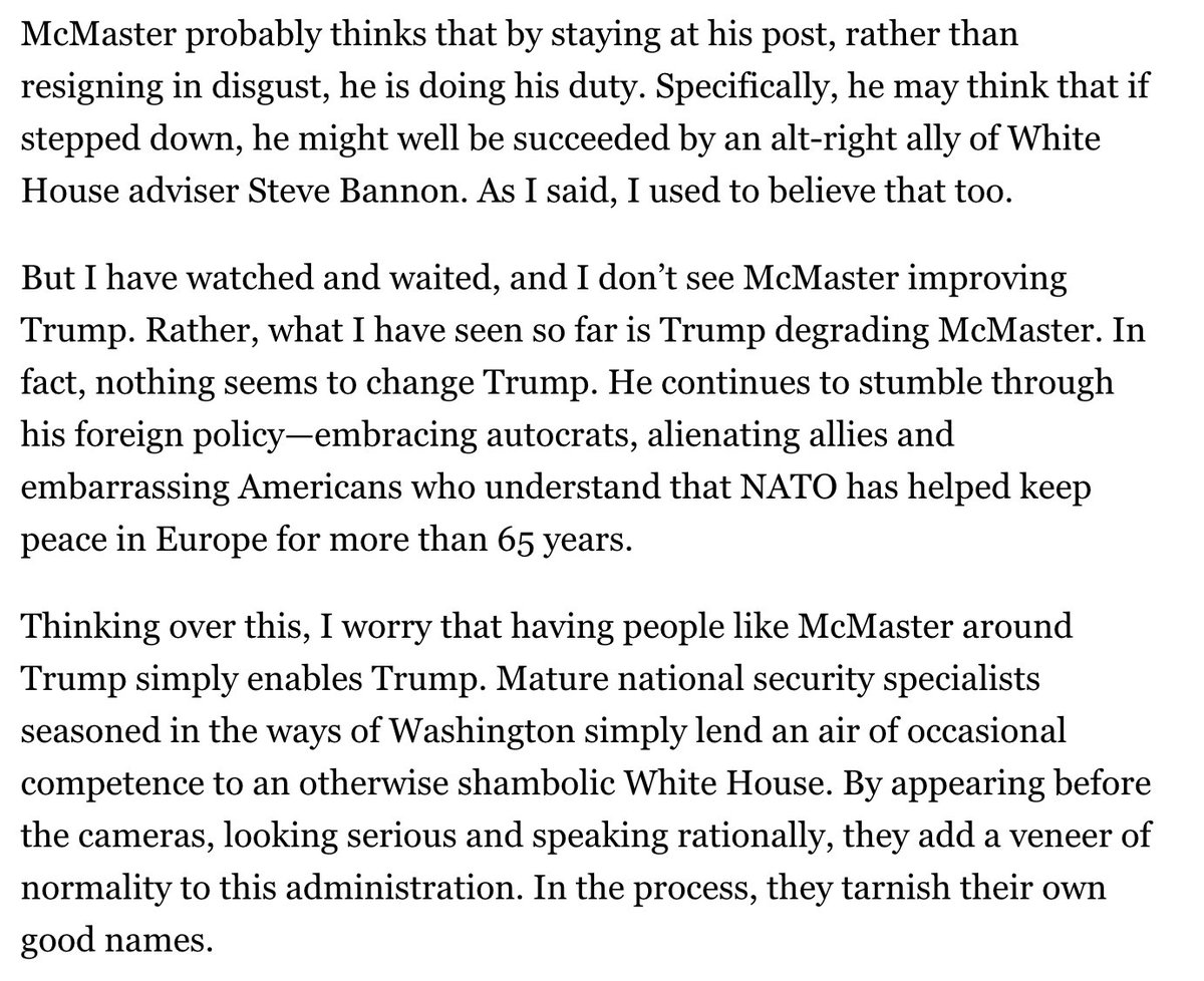Thomas Ricks to H.R. McMaster: resign for your own good, and the good of the country. https://t.co/49nLnW8KQa