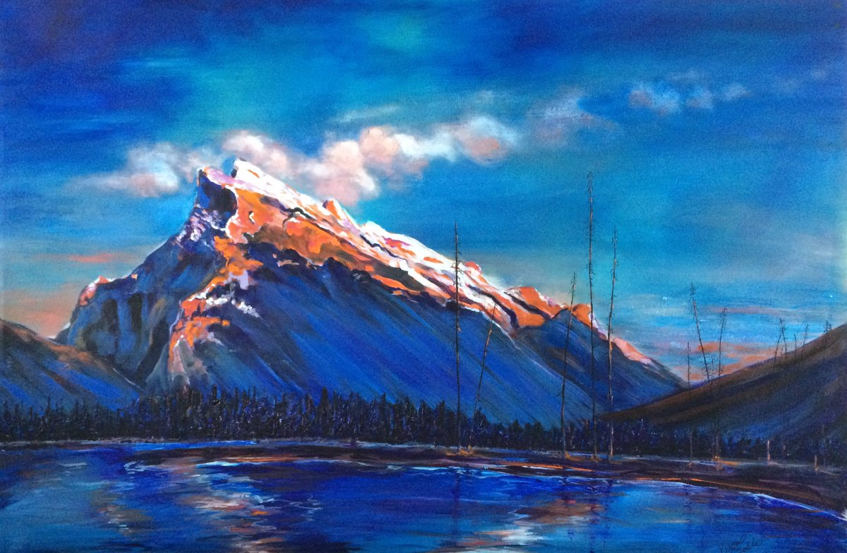 @BanffNP  check this beautiful painting... I might be bias... #rundlemountain #banff #sunset 23.5&quot; x 35.5&quot; #forsale <br>http://pic.twitter.com/zJNXtVx38a