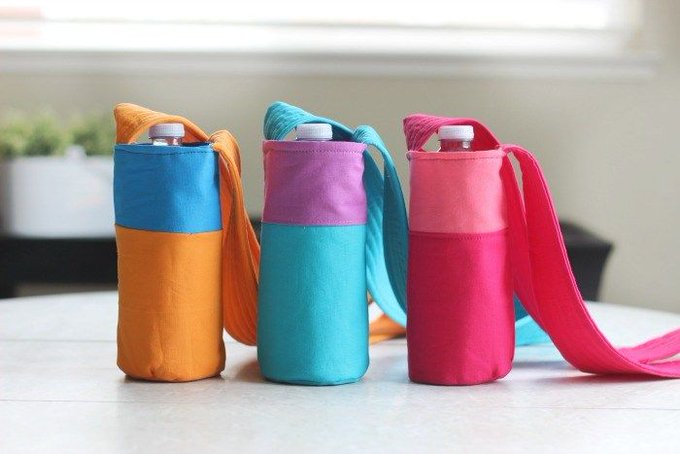 Color Block Fabric Water Bottle Tutorial
