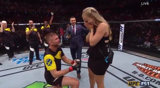 Legendary.  Alexander Gustafsson proposes to girlfriend after KO'ing o...