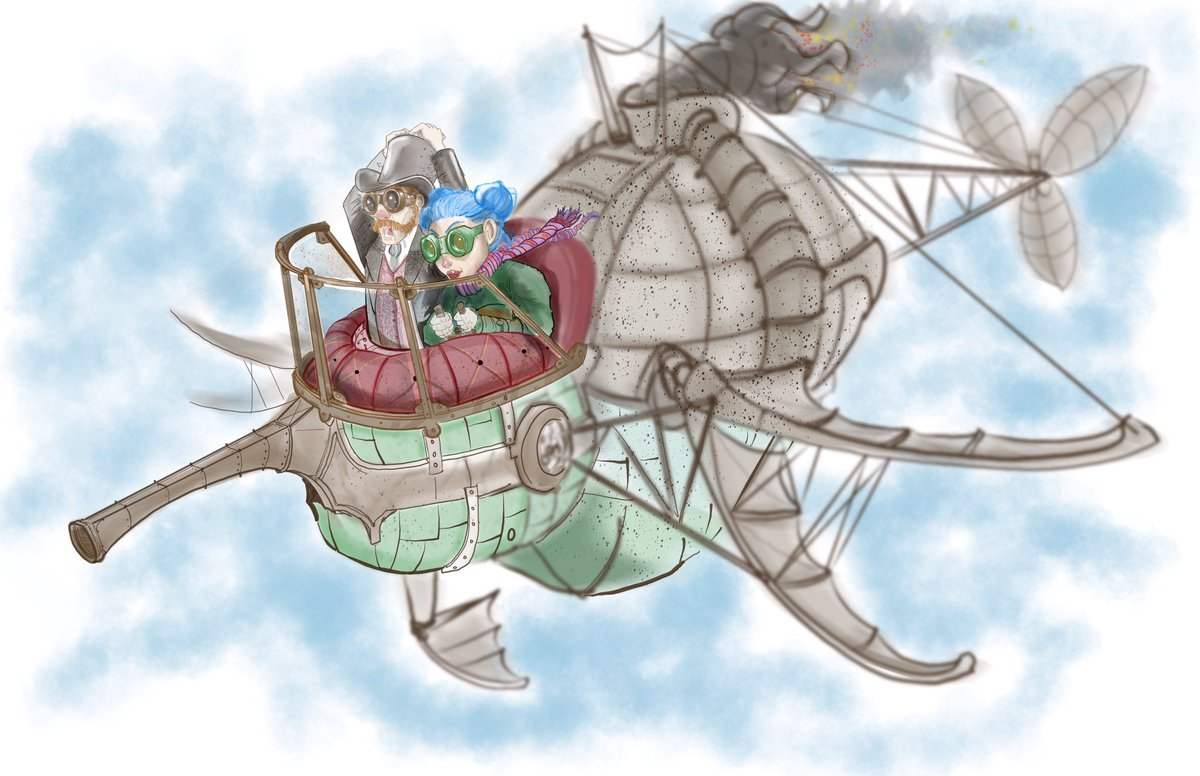 #steampunk #airship couple #goggles #digital #procreate #illustration #drawing #doodlebags #art<br>http://pic.twitter.com/mQ7l1J0AwE