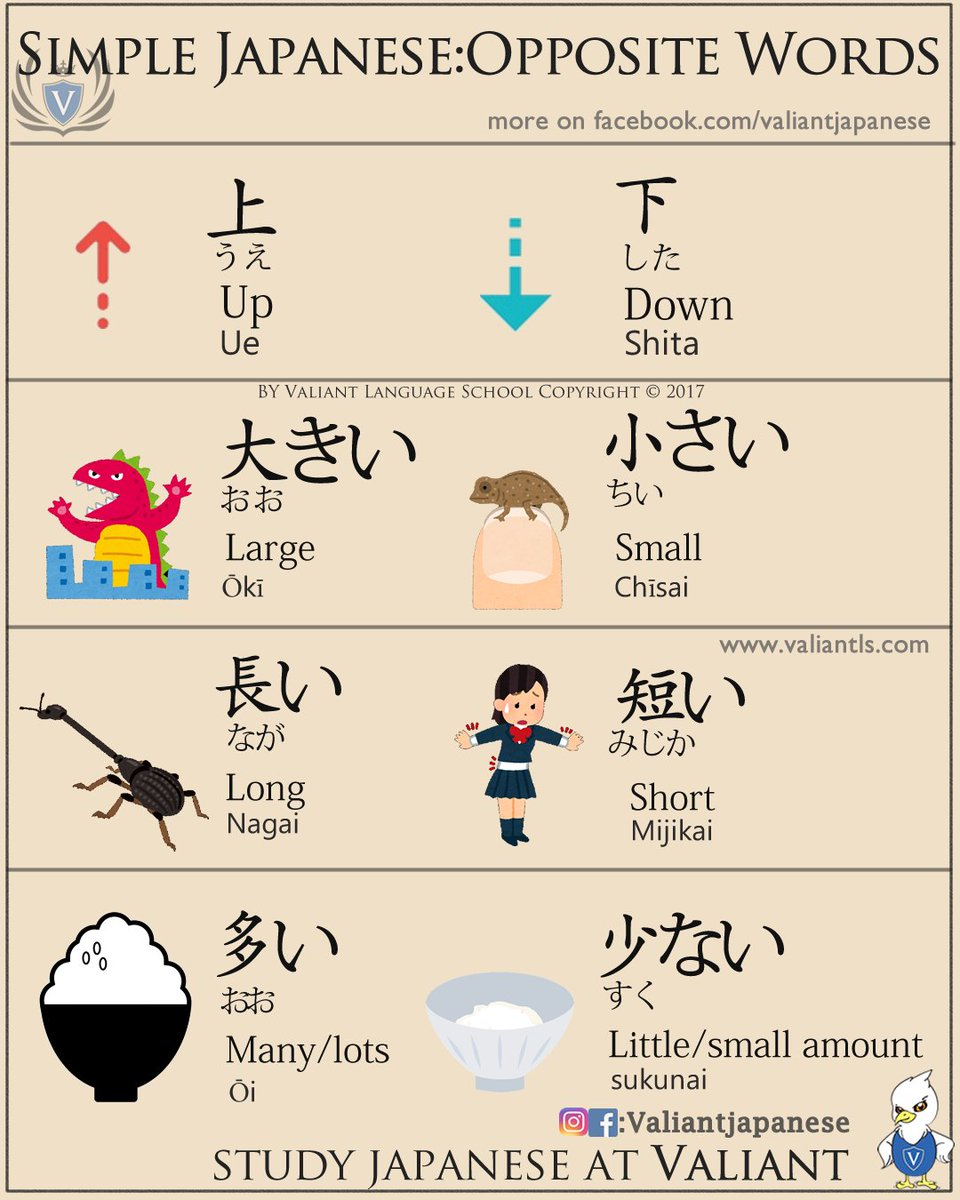 valiant school on twitter simple japanese opposite words nihongo