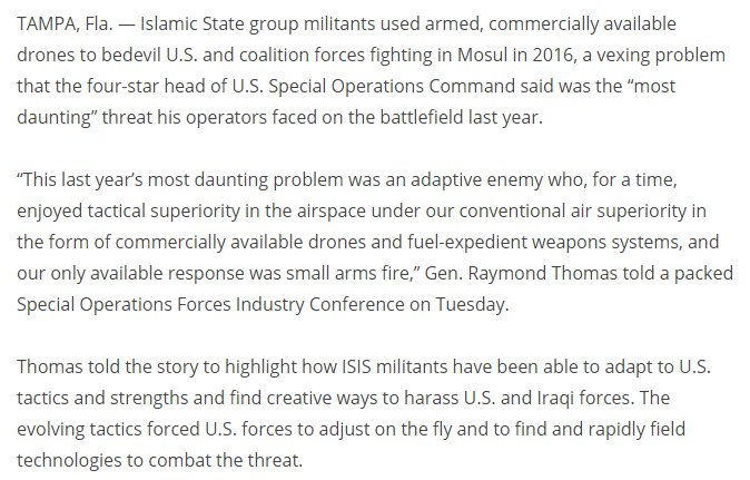 US SOCOM: This last year's most daunting problem was an adaptive enemy..[using] commercially available drones #UAV