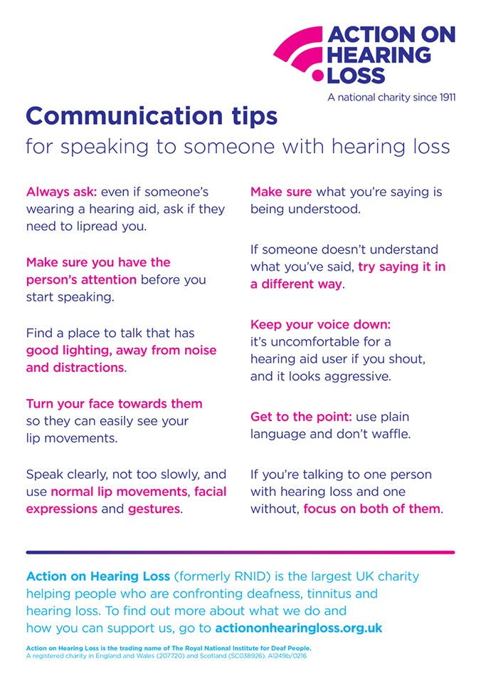 10 great communication tips for speaking to people with hearing loss #DeafAwarenessWeek