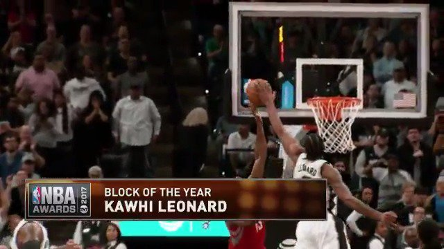 The Klaw denies The Beard! ✋  RT to vote Kawhi Leonard's chase-down swat as the #BlockOfTheYear!