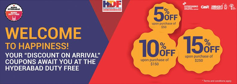 Don't forget to collect 'Discount on Arrival' #coupons at #HyderabadDutyFree. #HDF #rgiahyd #gmr #hyderabadairport #worldno1again<br>http://pic.twitter.com/LdNnGEBvIg