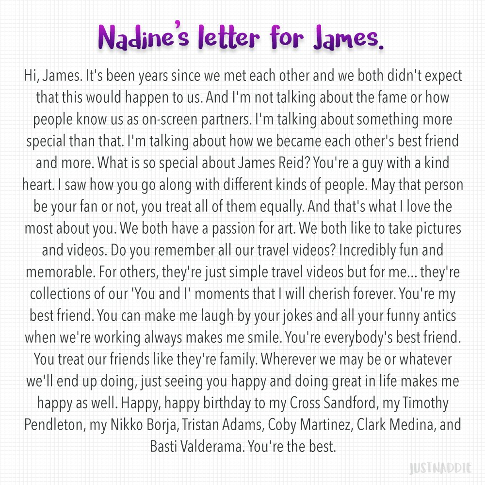 Somebody requested for Nadine's birthday message for James in English. Kung may mali, sensya 'di ako linguist! Hahaha!