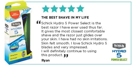 See more reviews -  https:// goo.gl/478TGG  &nbsp;   Buy your Schick Hydro 5 Power Select razor here -  https:// goo.gl/QS58uZ  &nbsp;   #SchickHydro #Schick <br>http://pic.twitter.com/K9k5cOHgYg