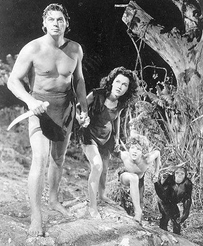 Tarzan y su hijo (Tarzan Finds a Son! MGM 1939) vemos a Johnny Weissmuller, Maureen O'Sulliva y Johnny Sheffield
