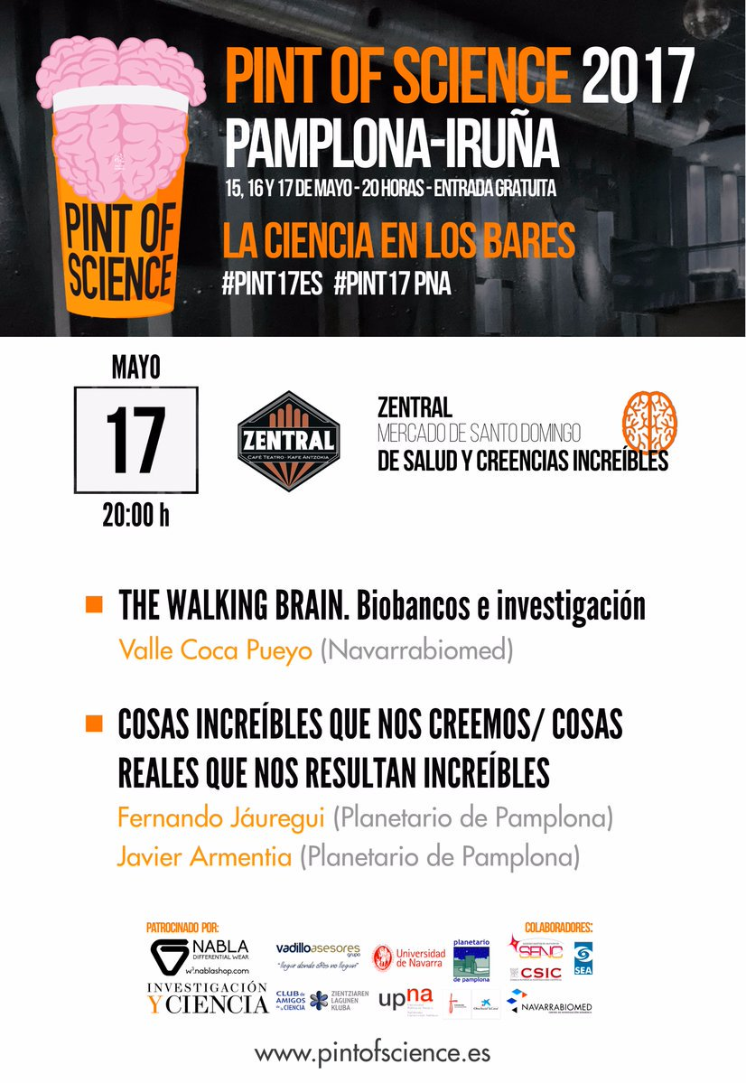 """The walking brain"", charla de la mano de @navarrabiomed sobre biobancos en el ciclo ""Pint Of Science"".  #PINT17PNA https://t.co/O86gX68tkb"