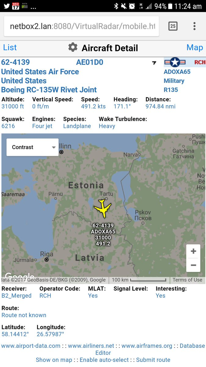 USAF RC135W Rivet Joint over Estonia, heading south