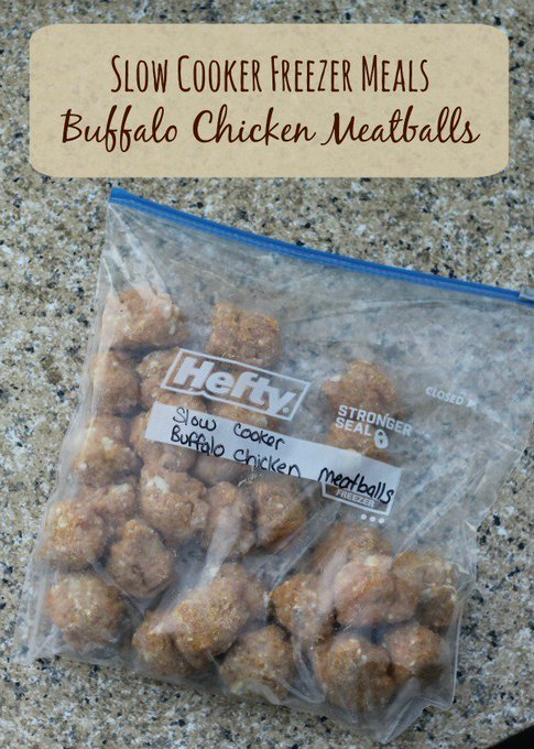 Buffalo Chicken Meatballs| Freezer to Slow Cooker Meals