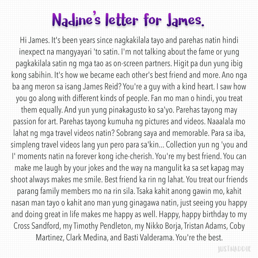 Here's Nadine's full birthday message for James. I love them so muchhhh.