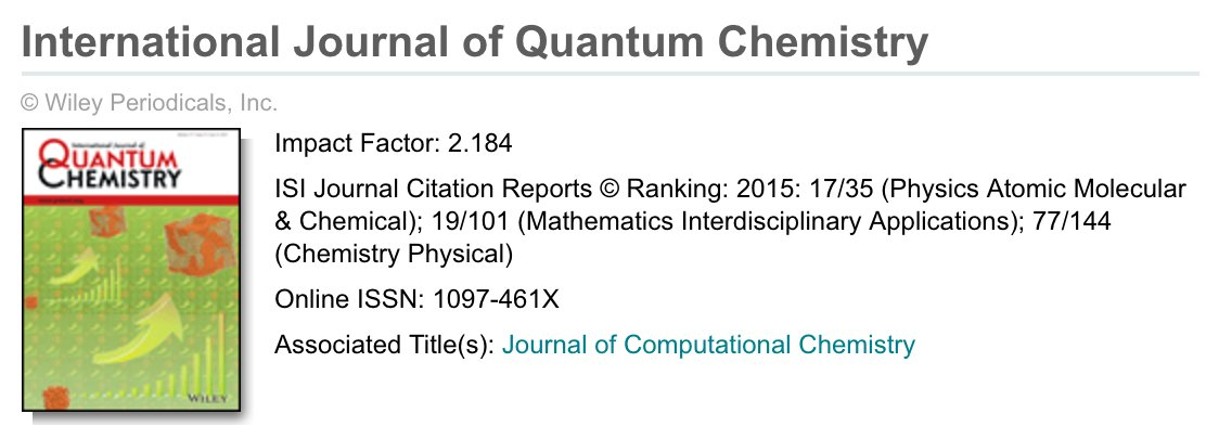 Just realized IJQC is a textbook example of how #impactfactor is field-dependent. 1 number: Among the kings in #math, peasant in #physchem<br>http://pic.twitter.com/0u9n3MT1SW