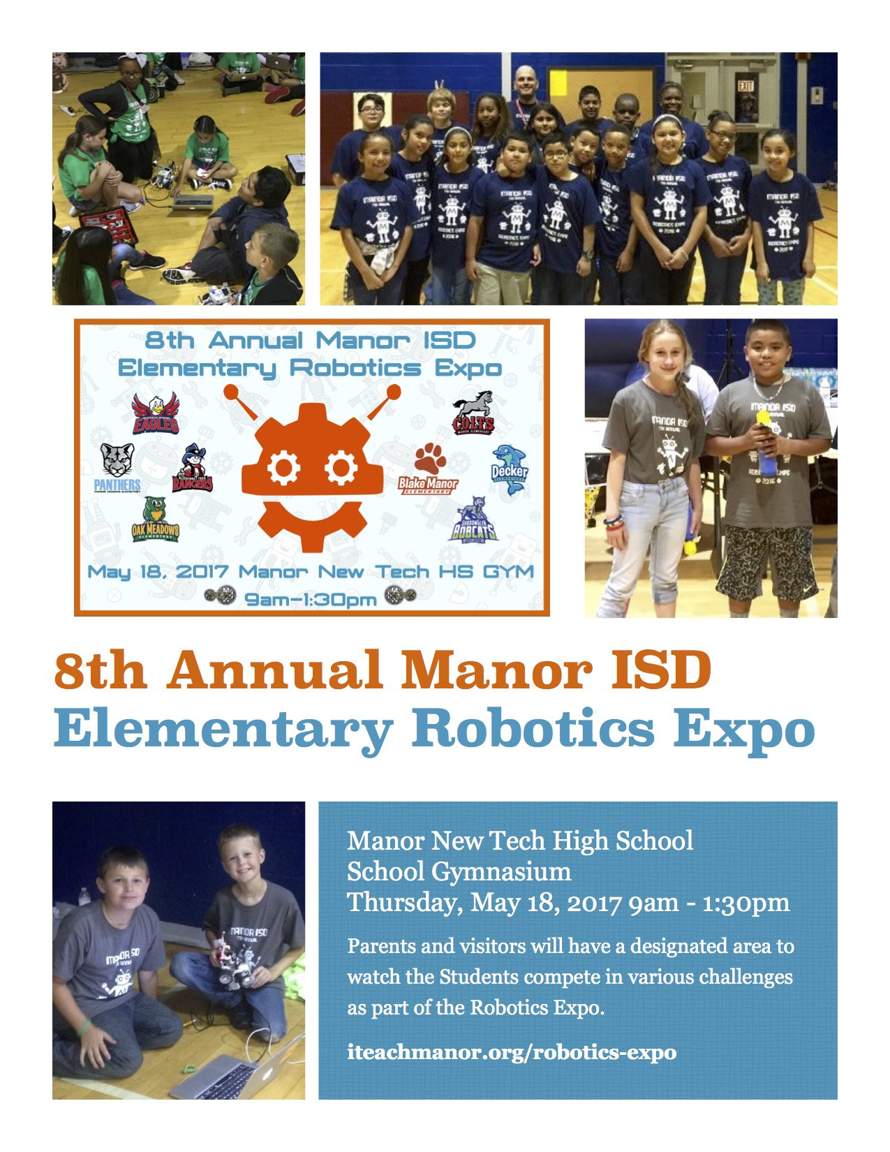 Has it been 8 years already? Our #ManorISD Robotics Expo is Tomorrow at 9AM-1:30PM in the @ManorNewTech Gym. https://t.co/fkdsLaLtCX https://t.co/4BldK2fxyJ