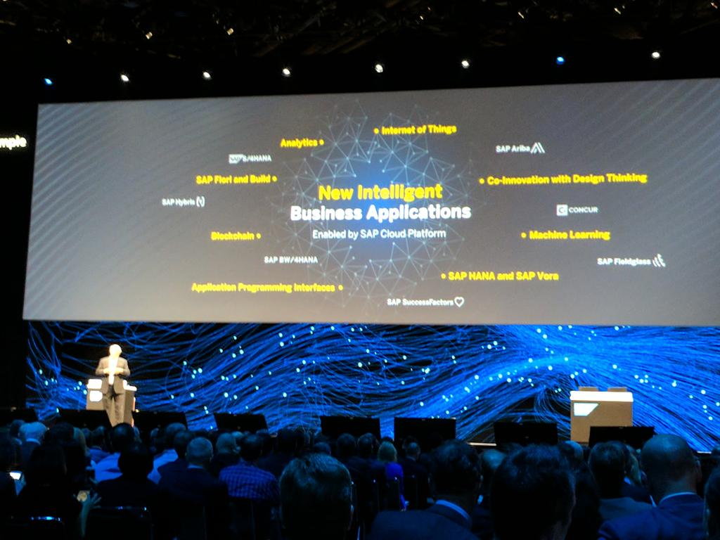 Plattner - at the core of keynote - New intelligent business applications #SAPPHIRENOW https://t.co/ahWa7dR79r