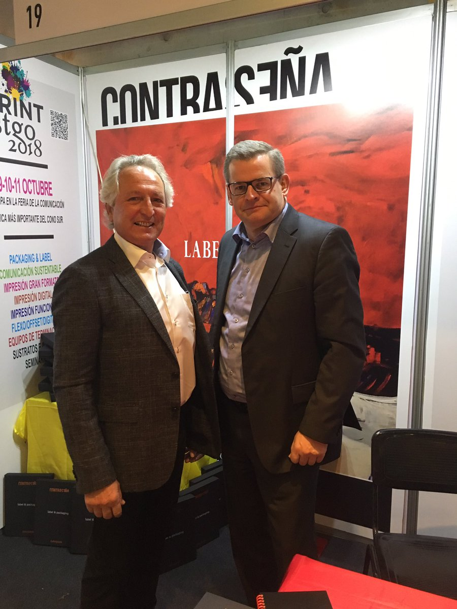 René Norman Christensen, CEO and Mauricio Contreras, Area Sales Manager from Glunz & Jensen at Label Summit Latin America 2017.