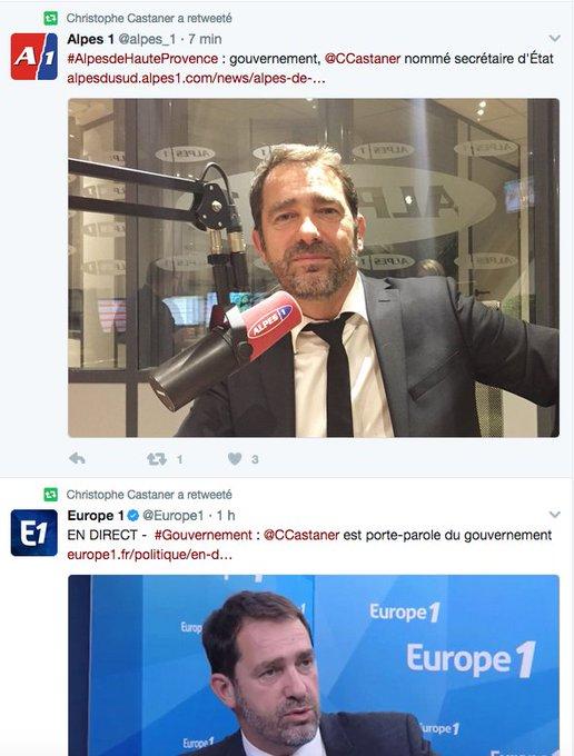 Ivre, @CCastaner retweete CHAQUE papier annonçant sa nomination au #gouvernementphilippe. JE CROIS QU'ON A COMPRIS, MONSIEUR CASTANER :)