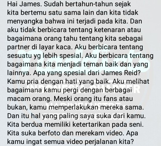 Indonesia translate of 'Nadine's letter for James.' 💙💙💙 Shout out to @justnaddie