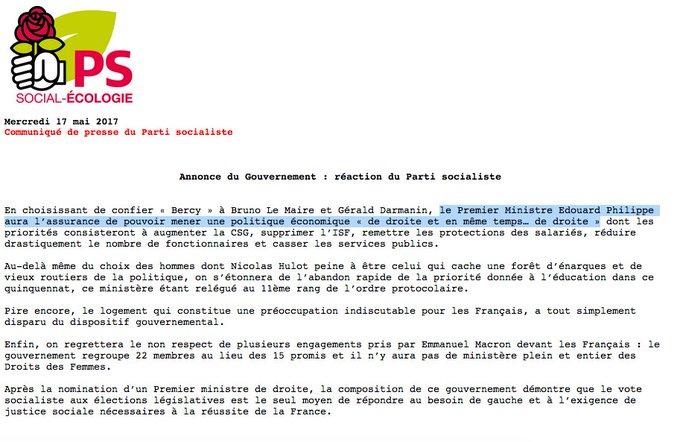 La réaction du PS à l'arrivée de Bruno Le Maire & Gérald Darmanin à Bercy #gouvernementphilippe