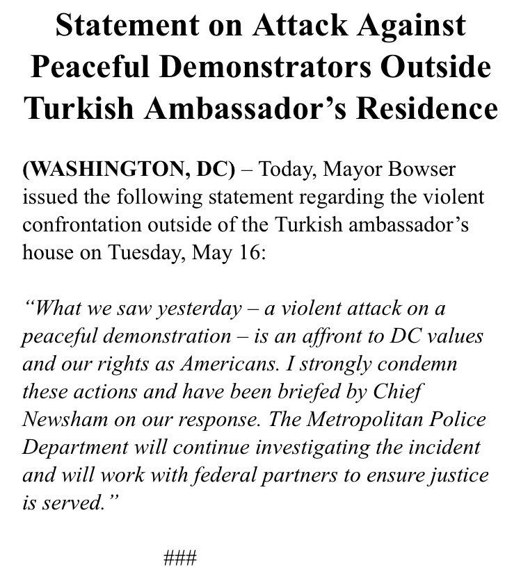 Statement on Attack Against Peaceful Demonstrators Outside Turkish Ambassador's Residence https://t.co/00XDDPfn2e https://t.co/bU0kp87iih