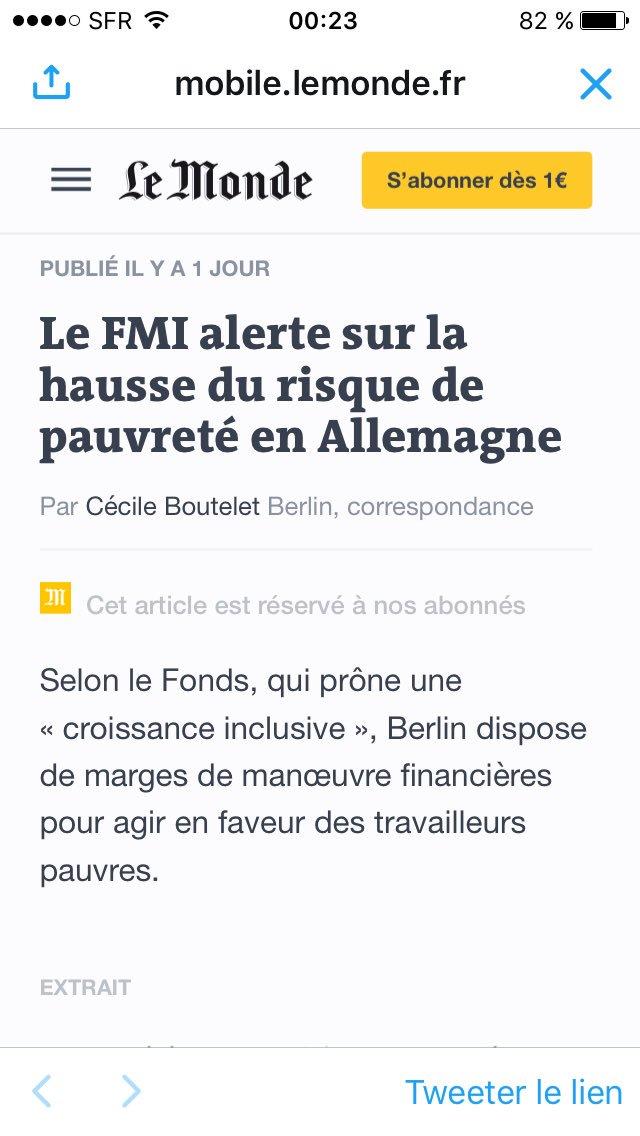 Le FMI s'inquiète hausse pauvreté en Allemagne : - 23% de bas salaires (9% en France) - 5000000 #minijobs 450€/mois