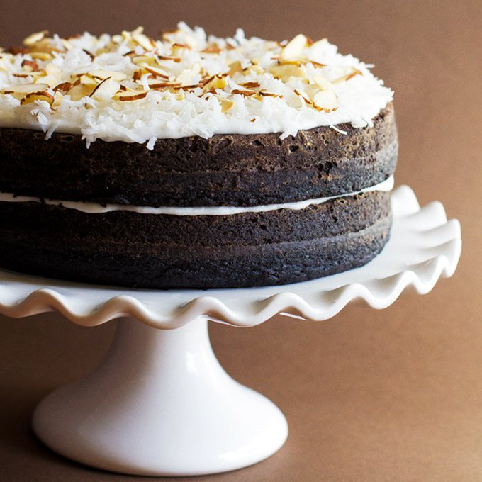 Dark Chocolate Layer Cake with Coconut Frosting Recipe