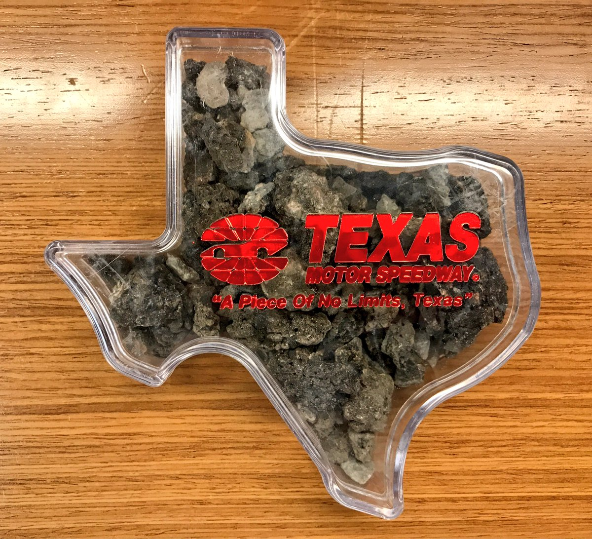 So who thinks we should giveaway this Texas shaped box with some pices of our old track surface? https://t.co/8Aowm1kZEL