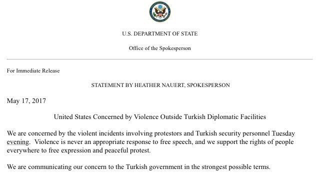 Department of State of United States concerned about violence on the sidelines of the visit of the Turkish president to #Washington.