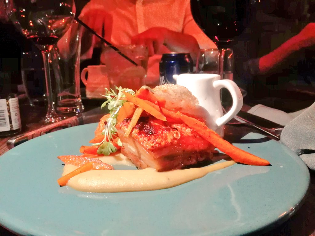 Slow cooked pork belly, fermented apple puree, smoked bacon bon bon, heritage carrots, beer jus. #LaurasWorldXBRC https://t.co/8nRkGyxedm